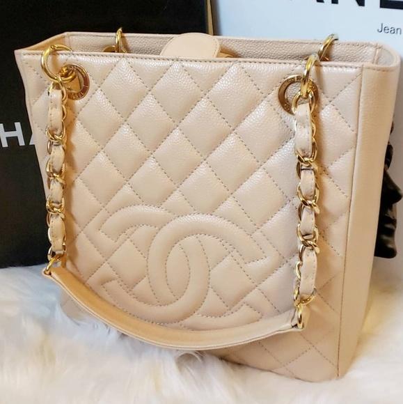 3ee53265af7b CHANEL Handbags - Chanel Light Beige PST Petite Small Tote Bag